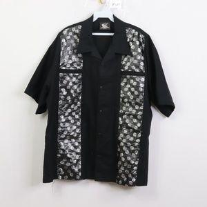 Vintage Rockabilly Dice Print Poker Shirt Black